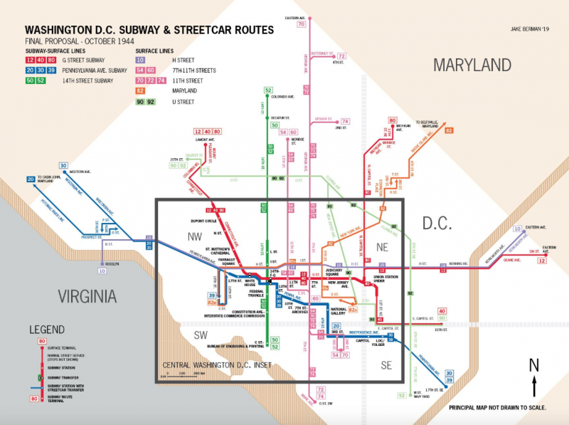 Check out this map of Washington streetcar and proposed subway lines on
