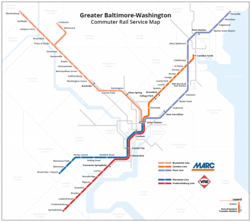 Maryland and Virginia's commuter rail look great together on one map