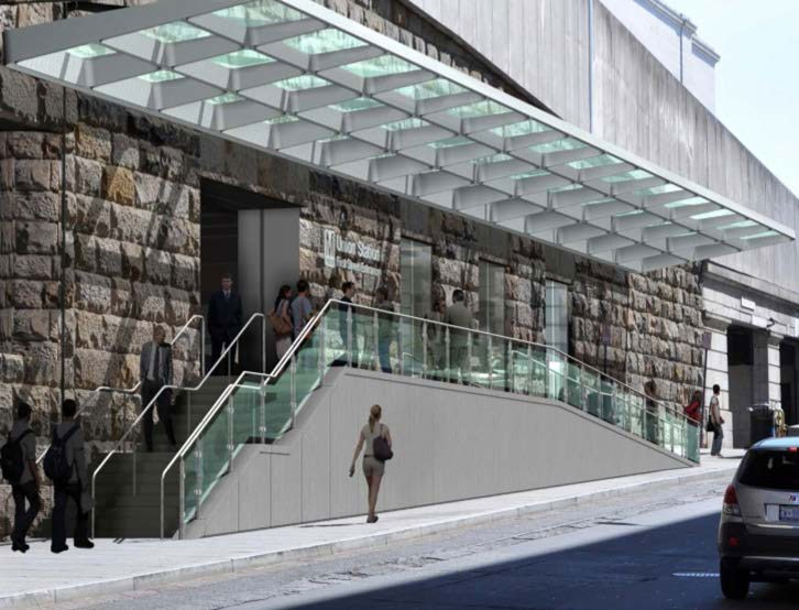 The Union Station Metro entrance on First Street is getting