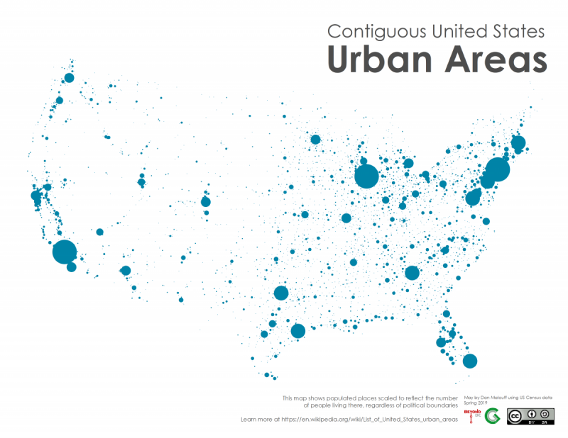 United States Map Of Cities.Urban Areas Represent What Cities Really Are See Them With This Map