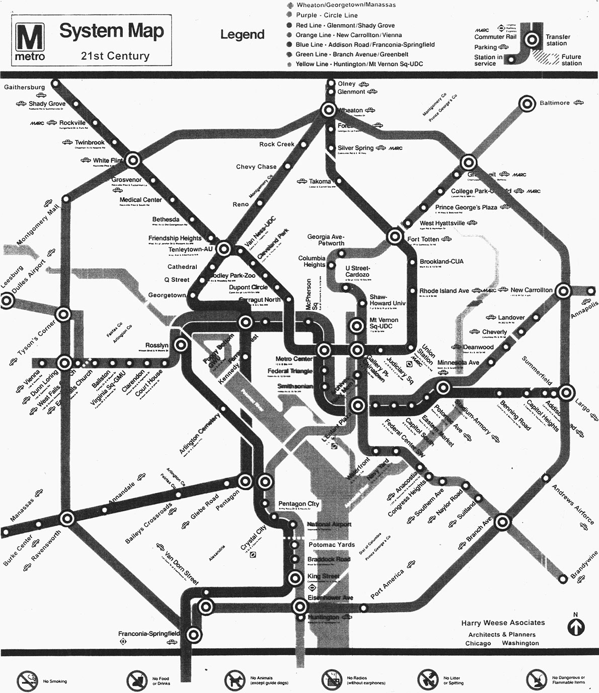 Black And White Subway Map.1990s Metro Fantasy Map Greater Greater Washington
