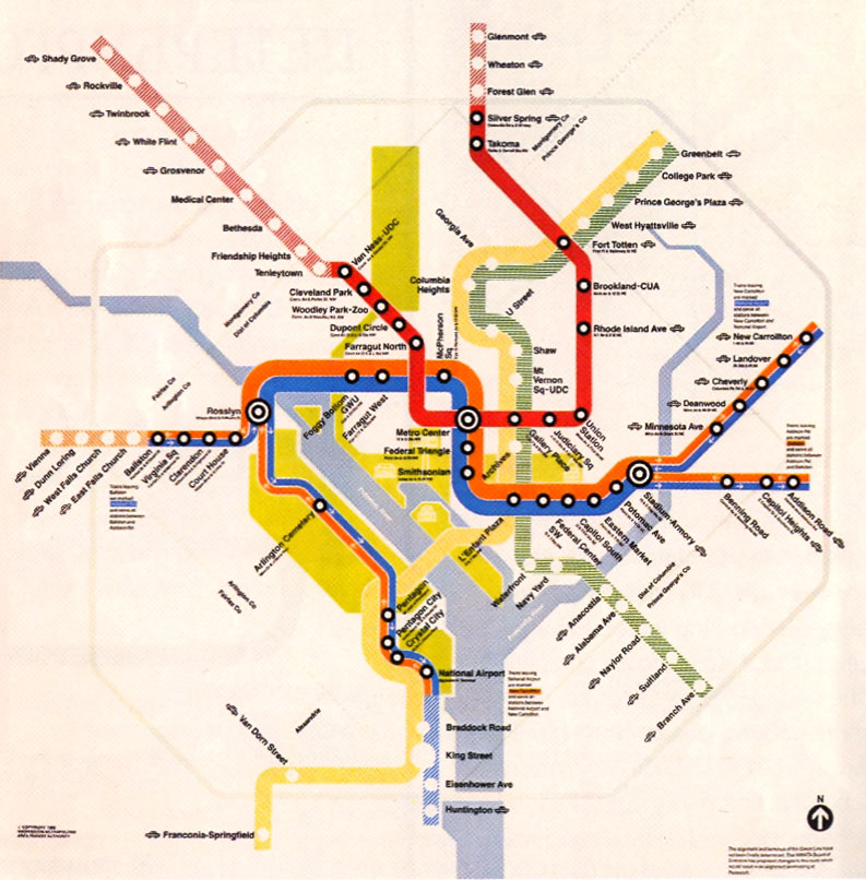 Dc Subway Map With Streets.Happy Birthday Metro Watch Metro S Evolution Since 1976 In This