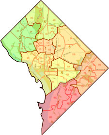 Washington Dc Wards Map  Washington Dc Map