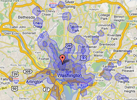 Transit Time maps now include DC – Greater Greater Washington