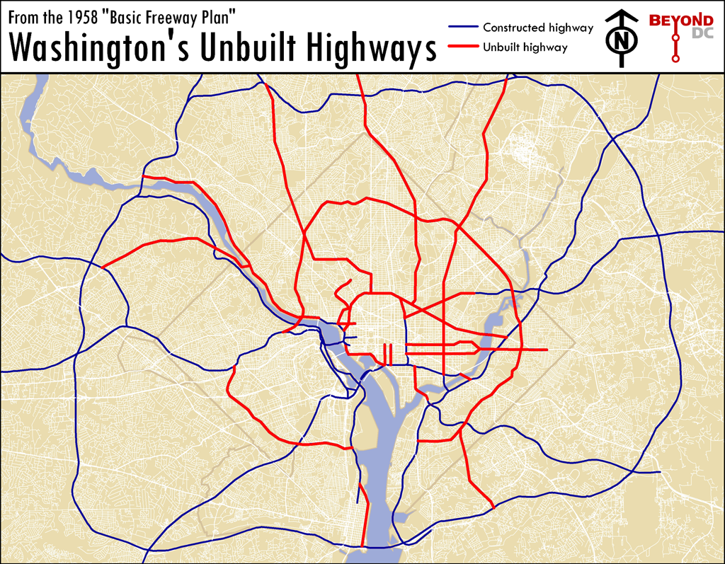 Here S A Map Of The Highways That Almost Ran Through Dc Greater