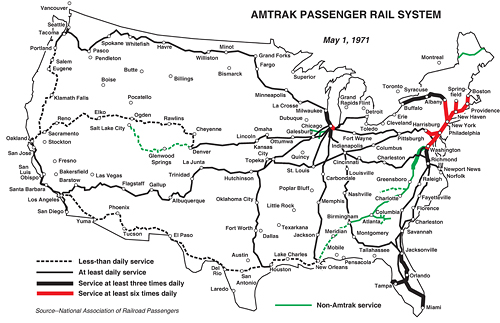 The Evolution Of Amtrak Greater Greater Washington - Amtrak map of routes in us