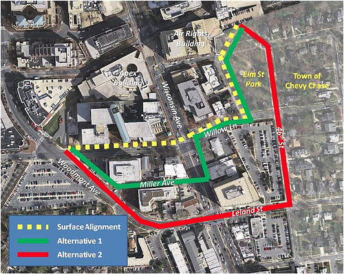 Capital Crescent Trail Alternatives in downtown Bethesda