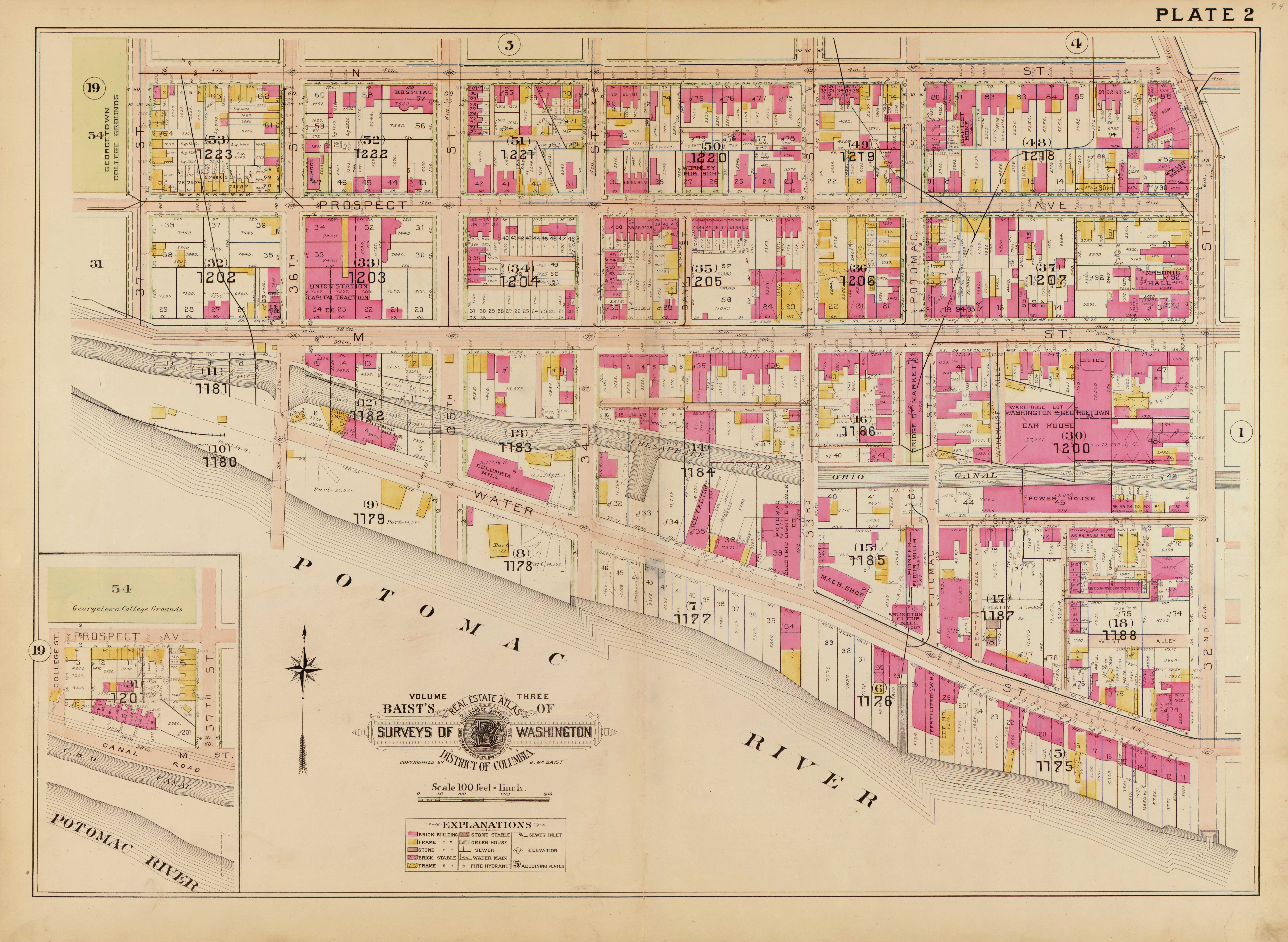 Old Survey Maps Show Georgetown Around Greater Greater - Washington dc plat map