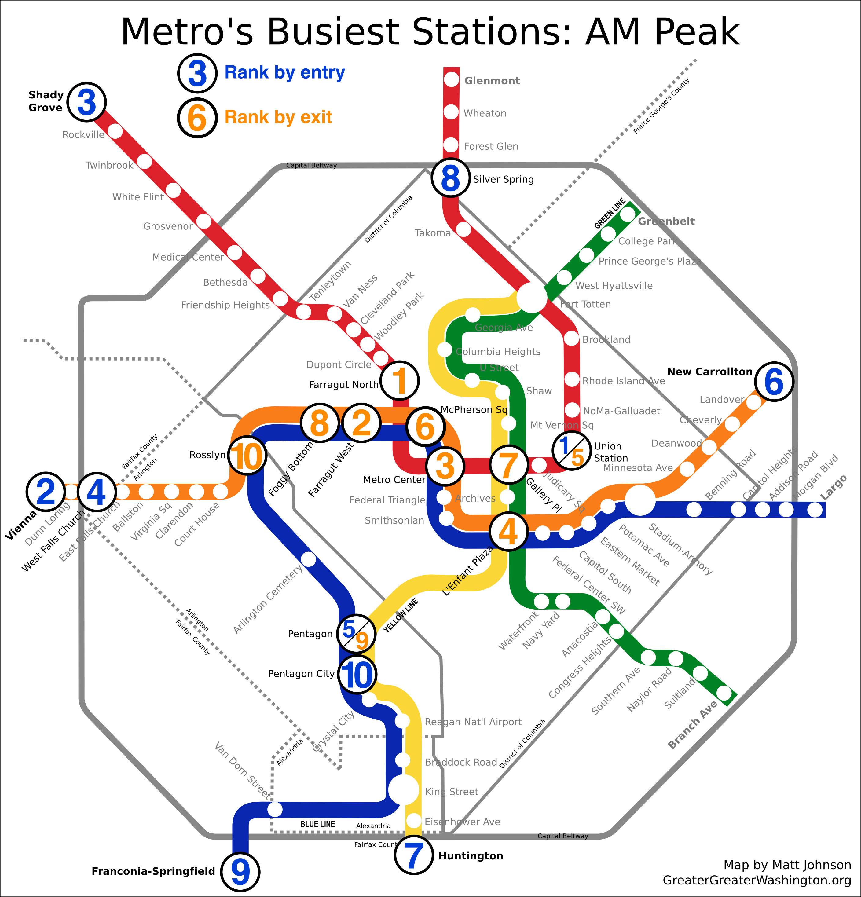 Which Metro Stations Are Busiest  Greater Greater Washington - Washington dc transit map pdf