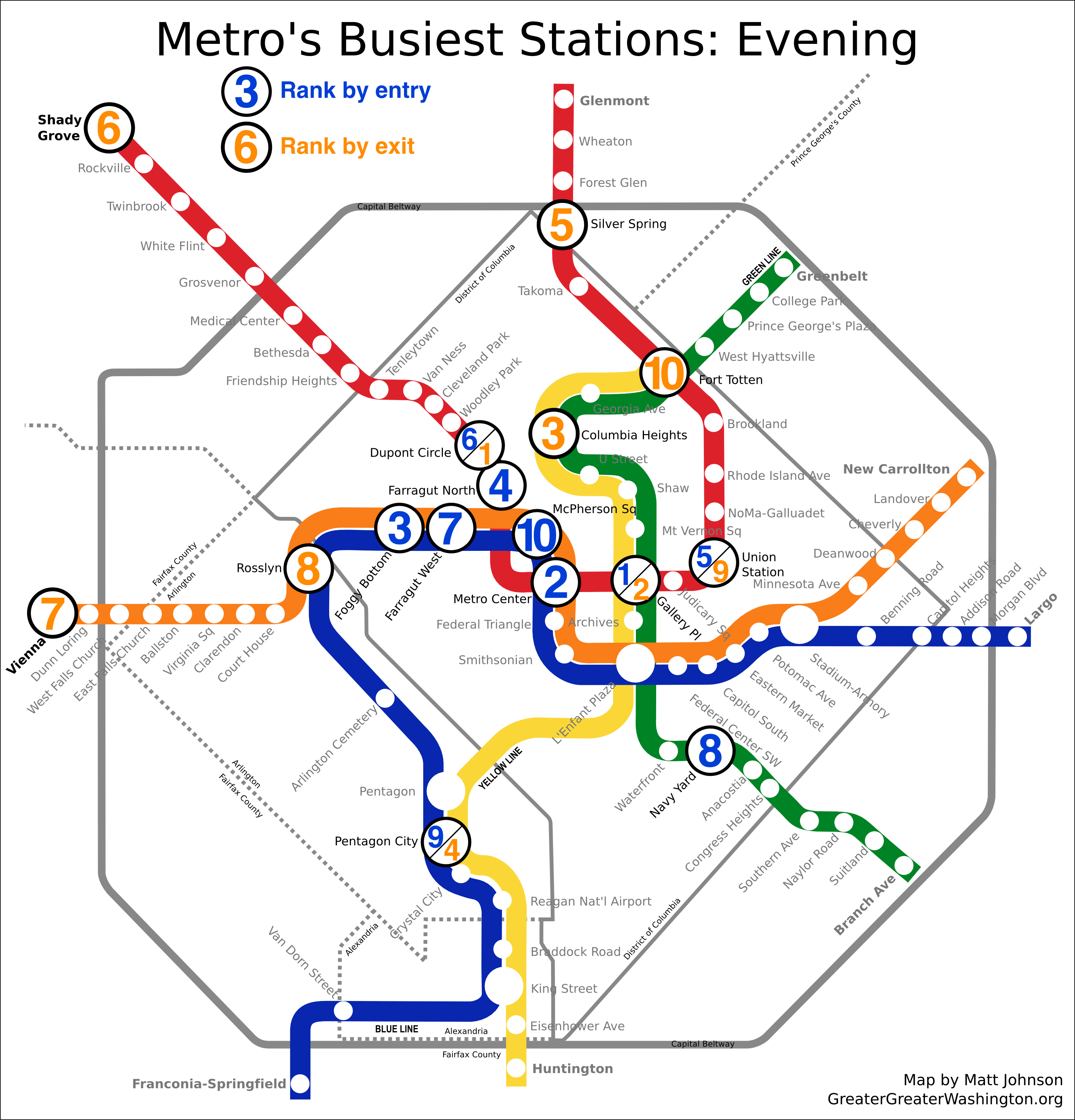 Subway Map Graph.Which Metro Stations Are Busiest Greater Greater Washington