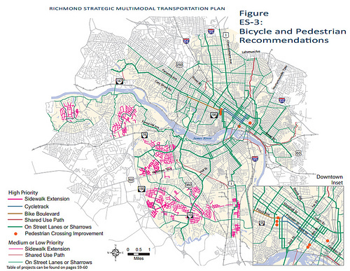 Richmond maps out a better transit network greater greater washington richmond bikeped plan image from city of richmond sciox Gallery