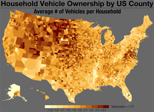 Rural Virginia Leads Eastern US In Cars Per Household Greater - East us map with county