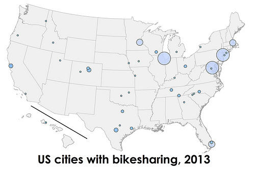 Here Are Americas Largest Bikesharing Systems In Greater - Map of us cities black and white