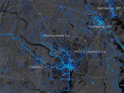 Heat maps show where people bike or at least where affluent people