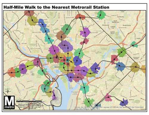 Map: A half-mile walk to Metro – Greater Greater Washington