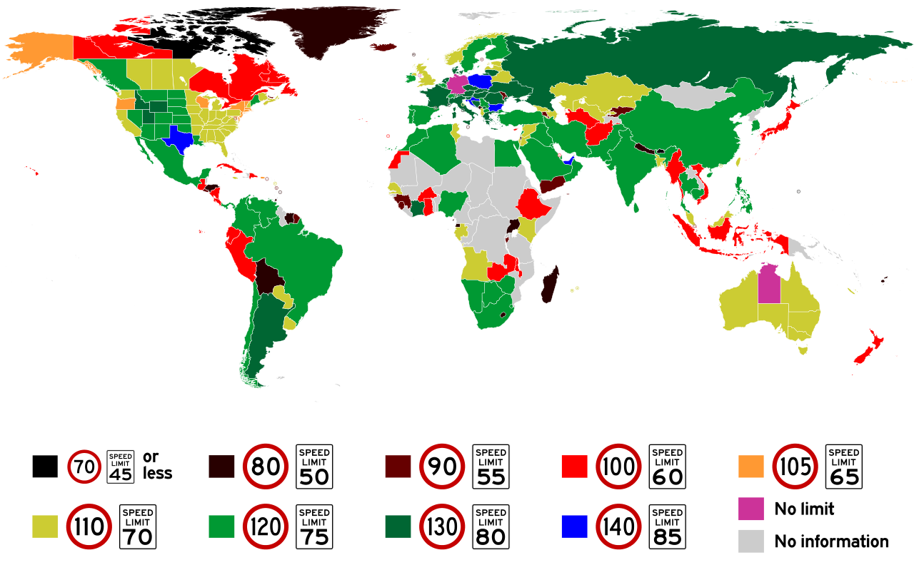 map of maximum speed limits around the world