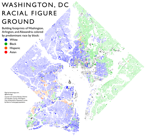 All the buildings and races of DC Arlington Alexandria on one map