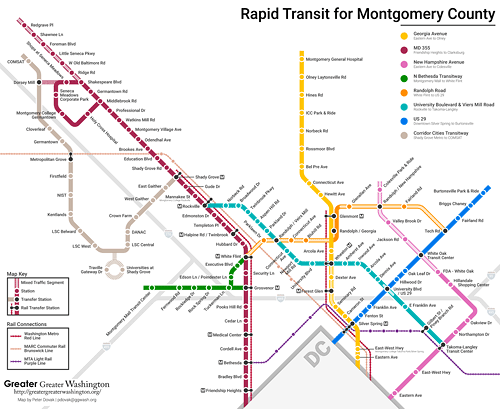 A map of Montgomery Countys rapid transit future Greater Greater