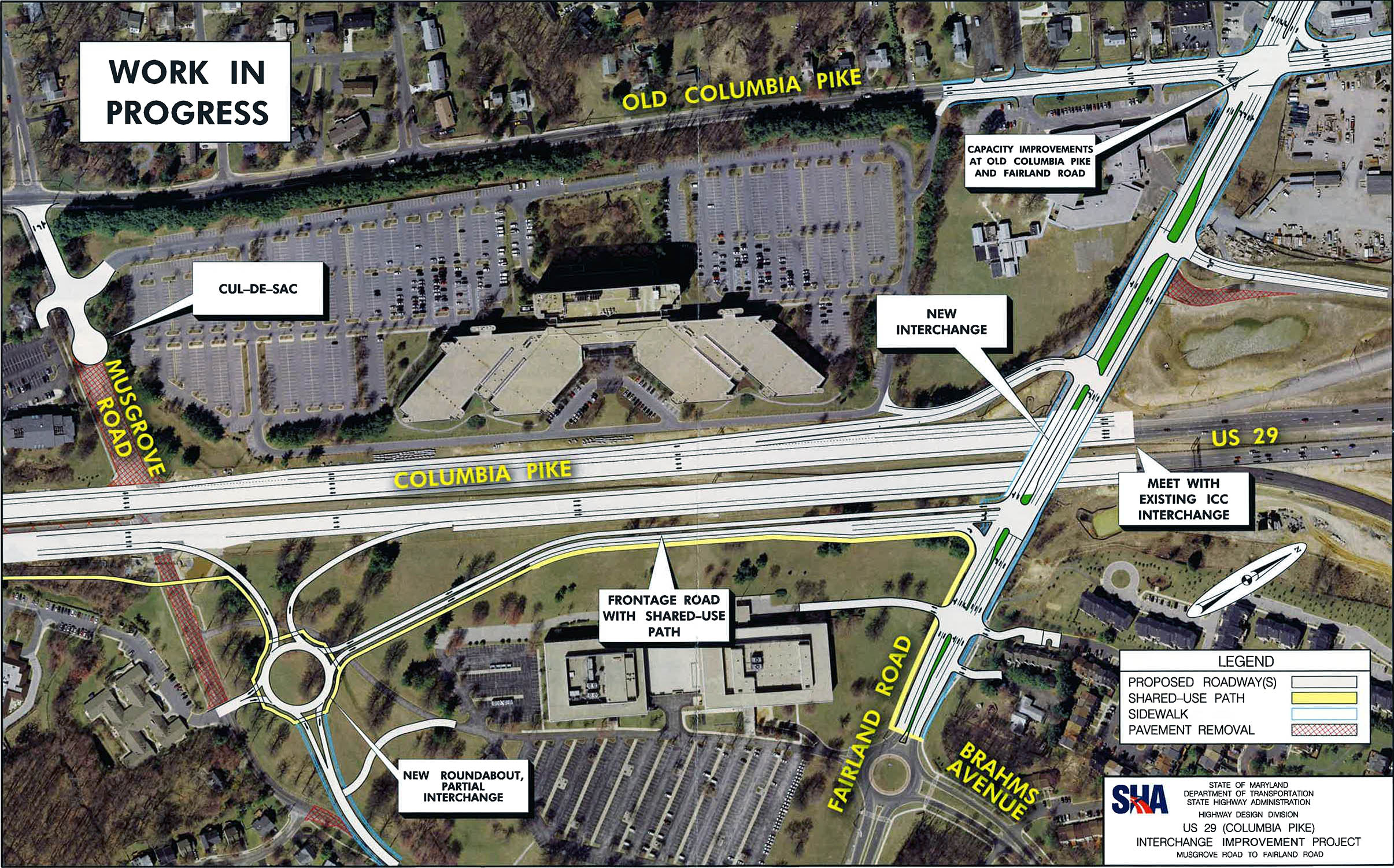 one of four proposed interchanges along route 29 in montgomery county with north on the right side image from the maryland state highway administration