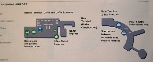 A Us Airways Diagram Of National Showing The Interim Terminal Which Handled Passengers During Construction Of Terminal B C In The Mid 1990s
