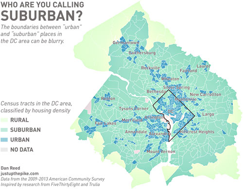 "This map shows which parts of the DC area are really ""urban"" and ..."