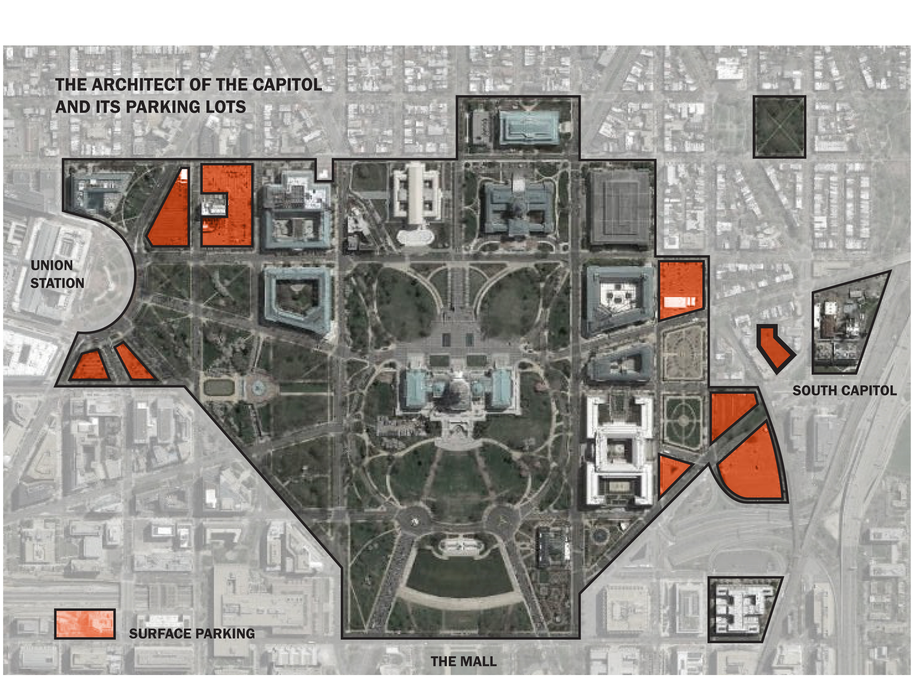 The Capitol Grounds And The Surface Parking Lots Graphic By The Author With A Map From Dc Gis