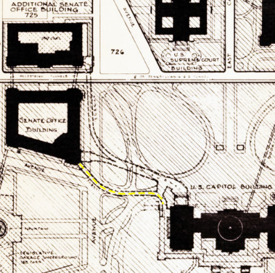 Here The Old Tunnel Is Marked In Yellow Image From The Library Of Congress