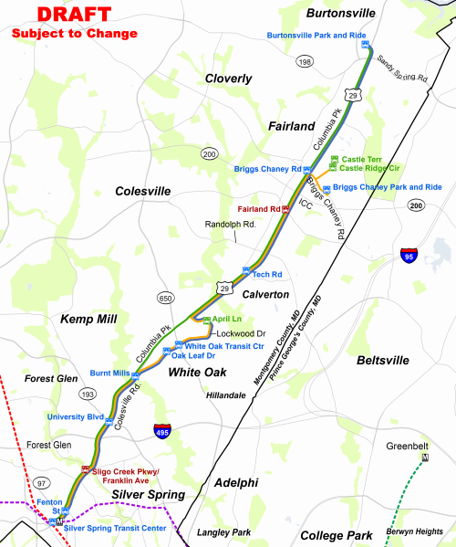 a draft of what the route 29 brt route will look like image from montgomery county