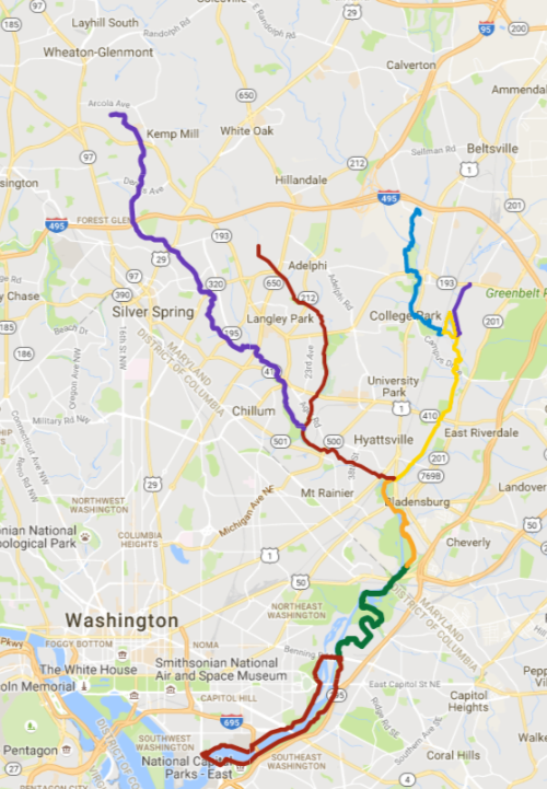rock creek bike trails map the anacostia tributary trail system the green portion is the new part of the anacostia