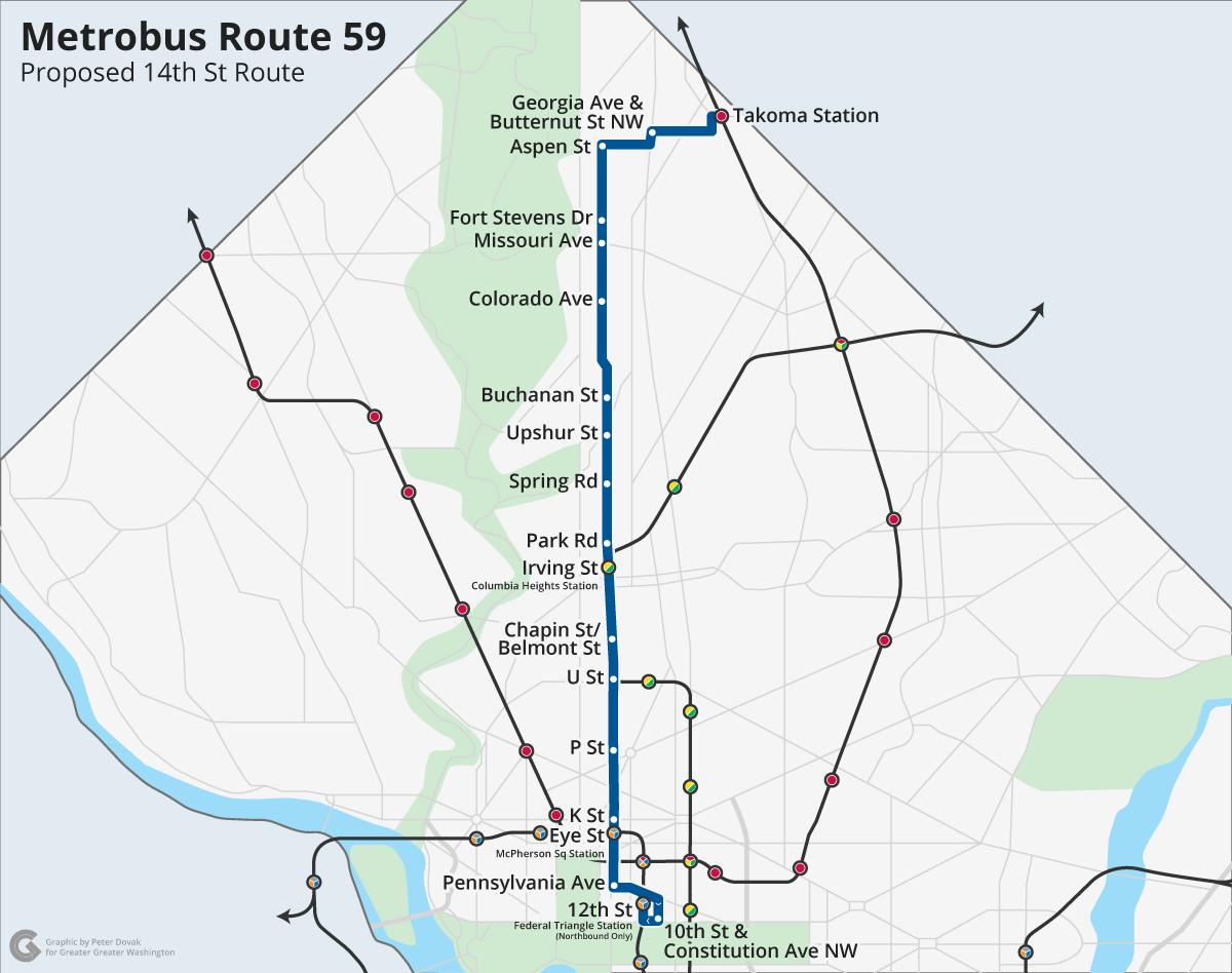 the 59 bus will bring express like service to 14th street nw