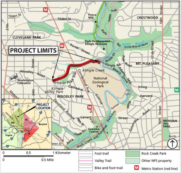 The new klingle valley trail connects woodley park and mount project area map with the new trail location in red image by ddot publicscrutiny Choice Image