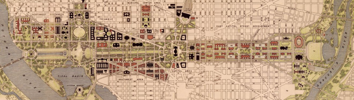 This 1941 plan shows another national mall through capitol hill greater greater washington for Who designed the basic plan for washington dc