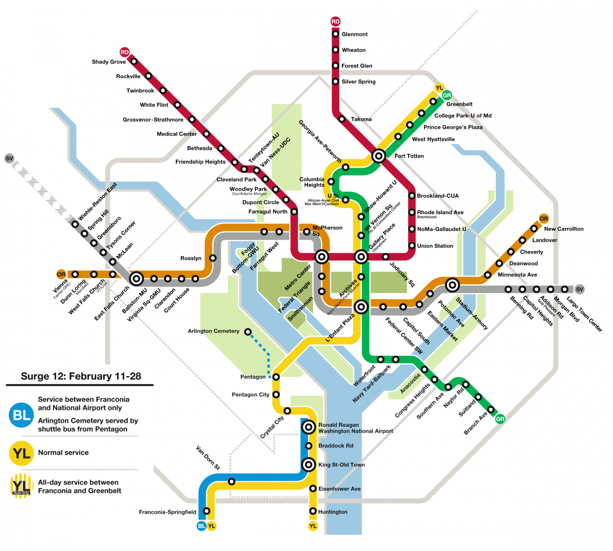 Dc Metro Map Yellow Line.Safetrack Will Hit The Blue And Yellow Lines Hard In 2017 Greater